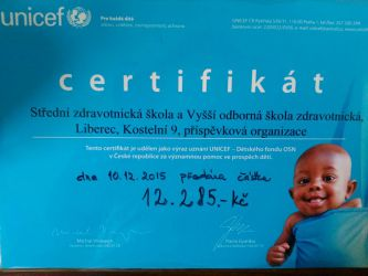 Certifikát UNICEF pro naši školu